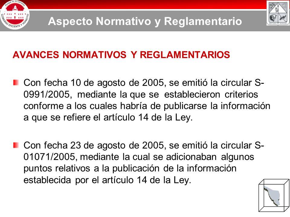 AVANCES NORMATIVOS Y REGLAMENTARIOS Con fecha 10 de agosto de 2005, se emitió la circular S- 0991/2005, mediante la que se establecieron criterios conforme a los cuales habría de publicarse la información a que se refiere el artículo 14 de la Ley.