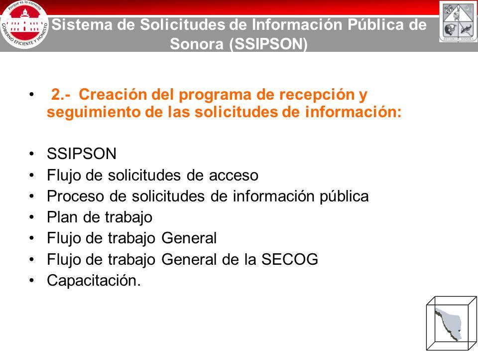 Sistema de Solicitudes de Información Pública de Sonora (SSIPSON) 2.- Creación del programa de recepción y seguimiento de las solicitudes de información: SSIPSON Flujo de solicitudes de acceso Proceso de solicitudes de información pública Plan de trabajo Flujo de trabajo General Flujo de trabajo General de la SECOG Capacitación.