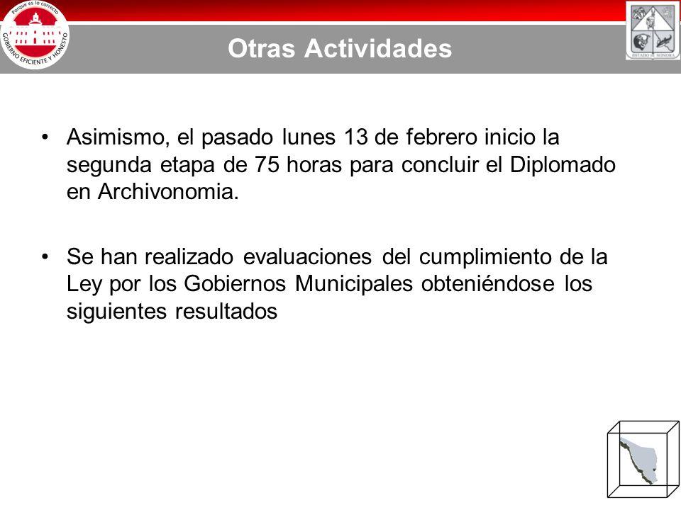 Otras Actividades Asimismo, el pasado lunes 13 de febrero inicio la segunda etapa de 75 horas para concluir el Diplomado en Archivonomia.