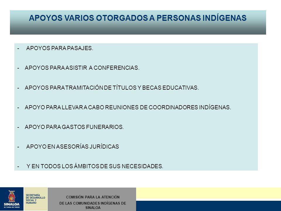 II INFORME TRIMESTRAL Abril/mayo/junio COMISIÓN PARA LA ATENCIÓN DE LAS COMUNIDADES INDÍGENAS DE SINALOA APOYOS VARIOS OTORGADOS A PERSONAS INDÍGENAS - APOYOS PARA PASAJES.