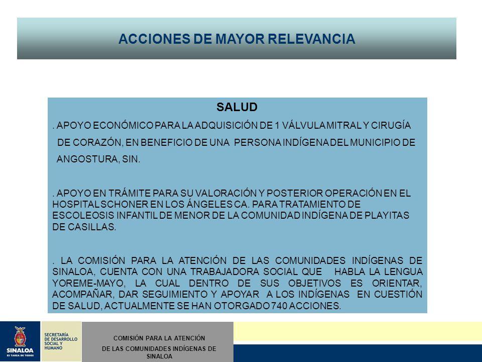 COMISIÓN PARA LA ATENCIÓN DE LAS COMUNIDADES INDÍGENAS DE SINALOA ACCIONES DE MAYOR RELEVANCIA SALUD.