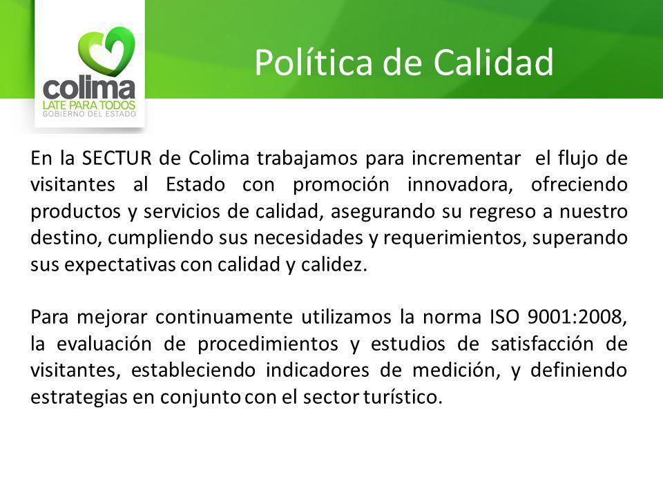 Política de Calidad En la SECTUR de Colima trabajamos para incrementar el flujo de visitantes al Estado con promoción innovadora, ofreciendo productos