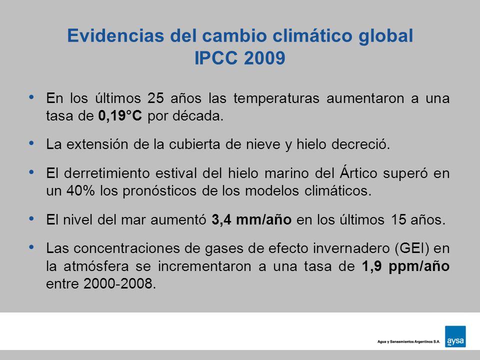 Evidencias del cambio climático global IPCC 2009 En los últimos 25 años las temperaturas aumentaron a una tasa de 0,19°C por década. La extensión de l