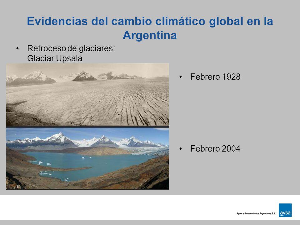 Evidencias del cambio climático global en la Argentina Retroceso de glaciares: Glaciar Upsala Febrero 1928 Febrero 2004