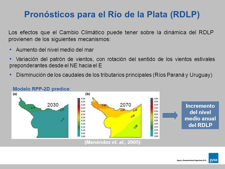 Pronósticos para el Río de la Plata (RDLP) Los efectos que el Cambio Climático puede tener sobre la dinámica del RDLP provienen de los siguientes meca