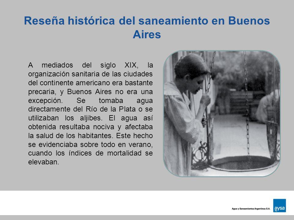 Reseña histórica del saneamiento en Buenos Aires A mediados del siglo XIX, la organización sanitaria de las ciudades del continente americano era bast