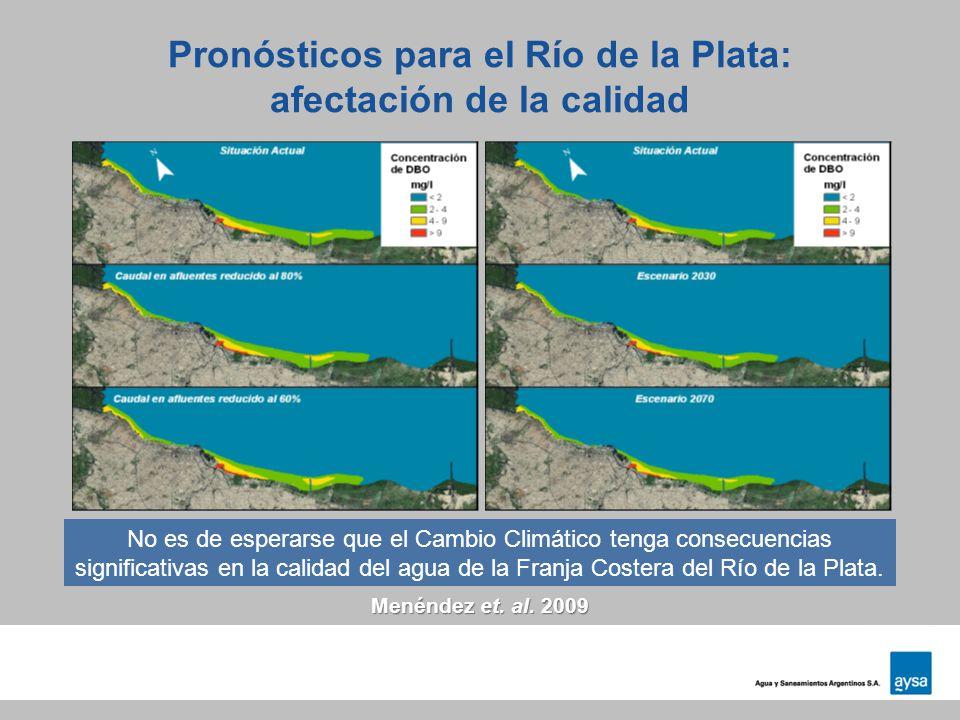 Pronósticos para el Río de la Plata: afectación de la calidad Menéndez et. al. 2009 No es de esperarse que el Cambio Climático tenga consecuencias sig