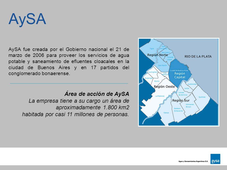 AySA AySA fue creada por el Gobierno nacional el 21 de marzo de 2006 para proveer los servicios de agua potable y saneamiento de efluentes cloacales e