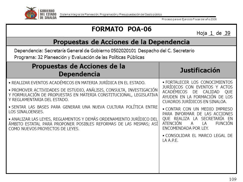 Sistema Integral de Planeación, Programación y Presupuestación del Gasto público Proceso para el Ejercicio Fiscal del año 2006 109 Propuestas de Acciones de la Dependencia Justificación FORMATO POA-06 Propuestas de Acciones de la Dependencia Dependencia: Secretaría General de Gobierno 0502020101 Despacho del C.