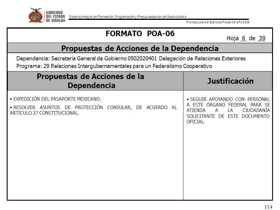 Sistema Integral de Planeación, Programación y Presupuestación del Gasto público Proceso para el Ejercicio Fiscal del año 2006 114 Propuestas de Acciones de la Dependencia Justificación FORMATO POA-06 Propuestas de Acciones de la Dependencia Dependencia: Secretaría General de Gobierno 0502020401 Delegación de Relaciones Exteriores Programa: 29 Relaciones Intergubernamentales para un Federalismo Cooperativo Hoja 6 de 39 EXPEDICIÓN DEL PASAPORTE MEXICANO.