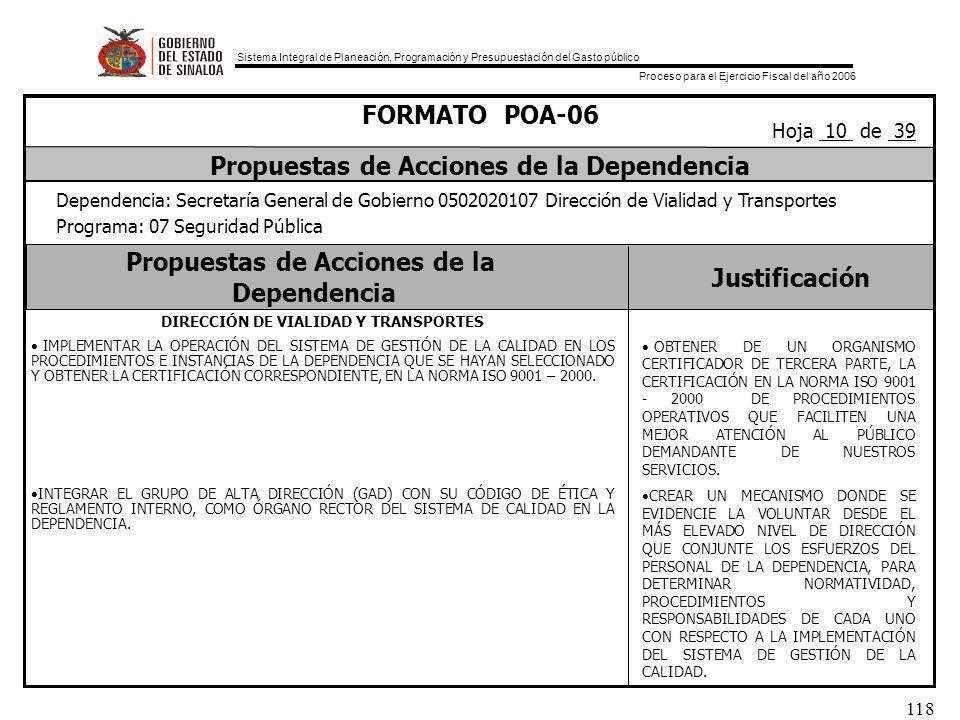 Sistema Integral de Planeación, Programación y Presupuestación del Gasto público Proceso para el Ejercicio Fiscal del año 2006 118 Propuestas de Acciones de la Dependencia Justificación FORMATO POA-06 Propuestas de Acciones de la Dependencia Dependencia: Secretaría General de Gobierno 0502020107 Dirección de Vialidad y Transportes Programa: 07 Seguridad Pública Hoja 10 de 39 DIRECCIÓN DE VIALIDAD Y TRANSPORTES IMPLEMENTAR LA OPERACIÓN DEL SISTEMA DE GESTIÓN DE LA CALIDAD EN LOS PROCEDIMIENTOS E INSTANCIAS DE LA DEPENDENCIA QUE SE HAYAN SELECCIONADO Y OBTENER LA CERTIFICACIÓN CORRESPONDIENTE, EN LA NORMA ISO 9001 – 2000.