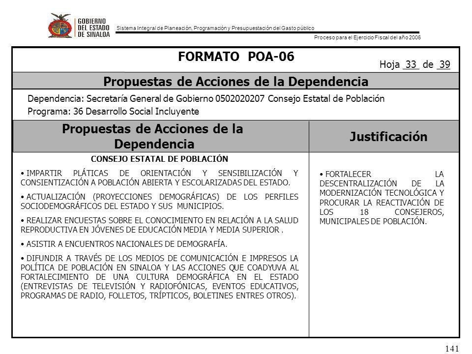Sistema Integral de Planeación, Programación y Presupuestación del Gasto público Proceso para el Ejercicio Fiscal del año 2006 141 Propuestas de Acciones de la Dependencia Justificación FORMATO POA-06 Propuestas de Acciones de la Dependencia Dependencia: Secretaría General de Gobierno 0502020207 Consejo Estatal de Población Programa: 36 Desarrollo Social Incluyente Hoja 33 de 39 CONSEJO ESTATAL DE POBLACIÓN IMPARTIR PLÁTICAS DE ORIENTACIÓN Y SENSIBILIZACIÓN Y CONSIENTIZACIÓN A POBLACIÓN ABIERTA Y ESCOLARIZADAS DEL ESTADO.