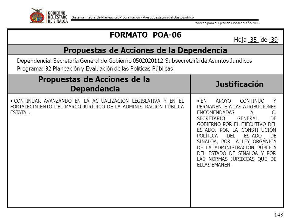 Sistema Integral de Planeación, Programación y Presupuestación del Gasto público Proceso para el Ejercicio Fiscal del año 2006 143 Propuestas de Acciones de la Dependencia Justificación FORMATO POA-06 Propuestas de Acciones de la Dependencia Dependencia: Secretaría General de Gobierno 0502020112 Subsecretaría de Asuntos Jurídicos Programa: 32 Planeación y Evaluación de las Políticas Públicas Hoja 35 de 39 CONTINUAR AVANZANDO EN LA ACTUALIZACIÓN LEGISLATIVA Y EN EL FORTALECIMIENTO DEL MARCO JURÍDICO DE LA ADMINISTRACIÓN PÚBLICA ESTATAL.