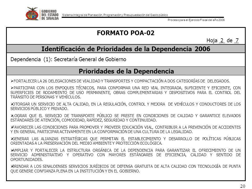 Sistema Integral de Planeación, Programación y Presupuestación del Gasto público Proceso para el Ejercicio Fiscal del año 2006 20 FORMATO POA-02 Identificación de Prioridades de la Dependencia 2006 Prioridades de la Dependencia Dependencia (1): Secretaría General de Gobierno FORTALECER LA 26 DELEGACIONES DE VIALIDAD Y TRANSPORTES Y COMPACTACIÓN A DOS CATEGORÍAS DE DELEGADOS.