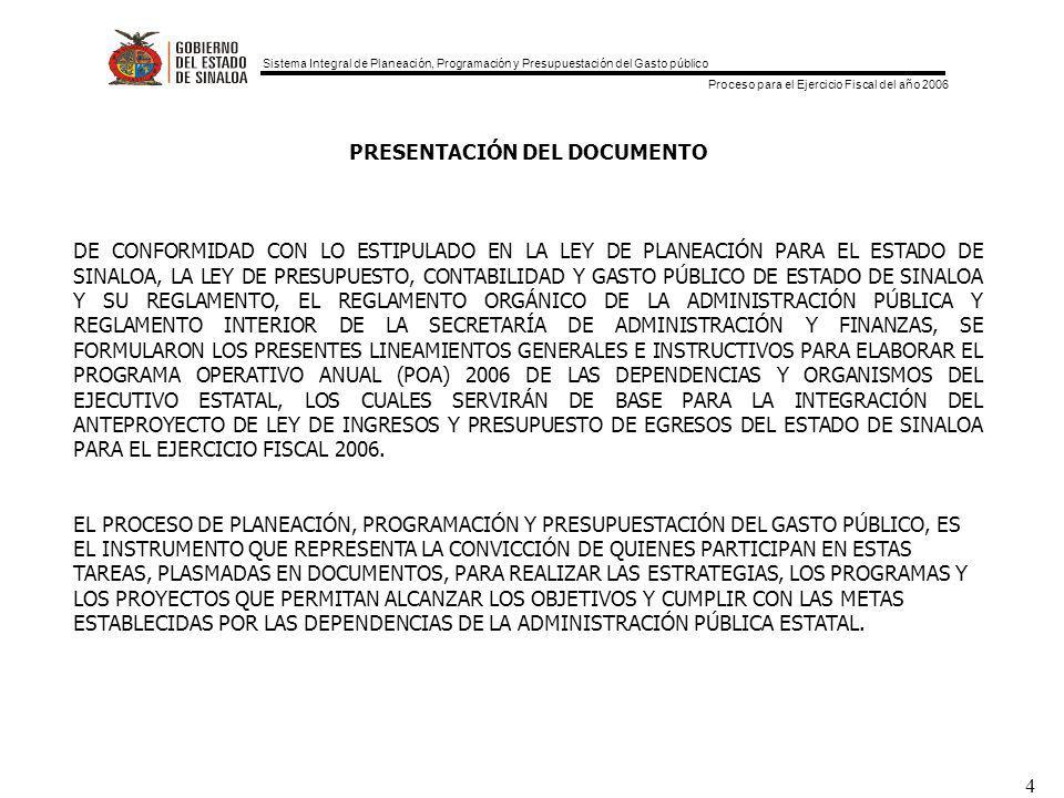 Sistema Integral de Planeación, Programación y Presupuestación del Gasto público Proceso para el Ejercicio Fiscal del año 2006 4 PRESENTACIÓN DEL DOCUMENTO DE CONFORMIDAD CON LO ESTIPULADO EN LA LEY DE PLANEACIÓN PARA EL ESTADO DE SINALOA, LA LEY DE PRESUPUESTO, CONTABILIDAD Y GASTO PÚBLICO DE ESTADO DE SINALOA Y SU REGLAMENTO, EL REGLAMENTO ORGÁNICO DE LA ADMINISTRACIÓN PÚBLICA Y REGLAMENTO INTERIOR DE LA SECRETARÍA DE ADMINISTRACIÓN Y FINANZAS, SE FORMULARON LOS PRESENTES LINEAMIENTOS GENERALES E INSTRUCTIVOS PARA ELABORAR EL PROGRAMA OPERATIVO ANUAL (POA) 2006 DE LAS DEPENDENCIAS Y ORGANISMOS DEL EJECUTIVO ESTATAL, LOS CUALES SERVIRÁN DE BASE PARA LA INTEGRACIÓN DEL ANTEPROYECTO DE LEY DE INGRESOS Y PRESUPUESTO DE EGRESOS DEL ESTADO DE SINALOA PARA EL EJERCICIO FISCAL 2006.