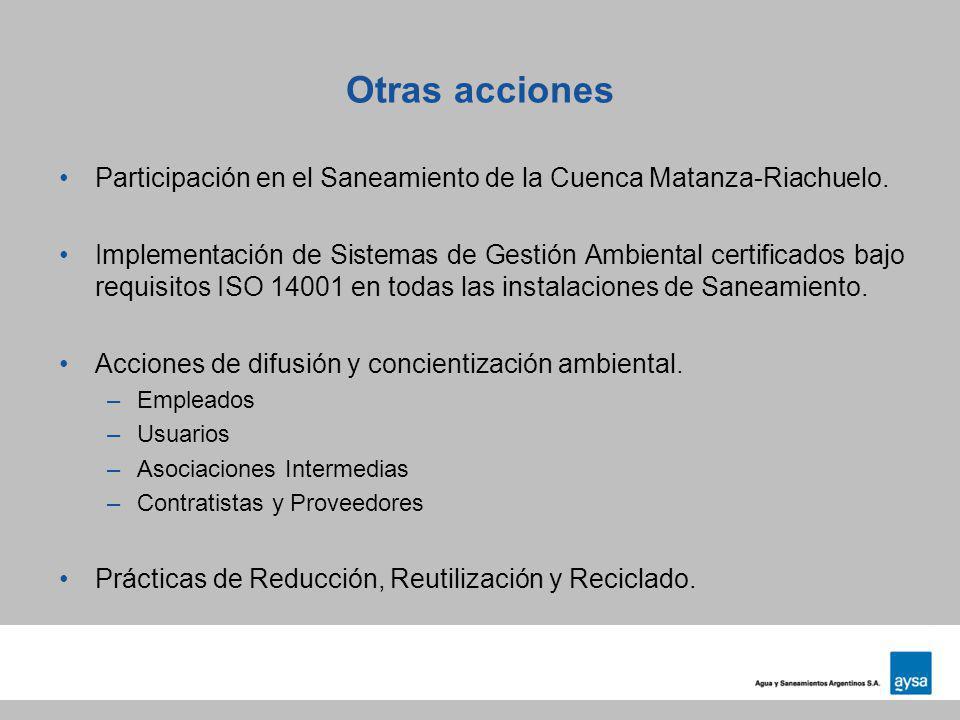 Otras acciones Participación en el Saneamiento de la Cuenca Matanza-Riachuelo. Implementación de Sistemas de Gestión Ambiental certificados bajo requi
