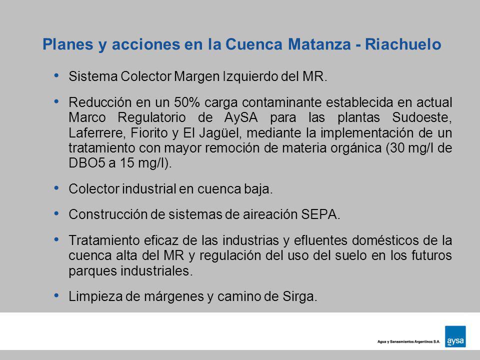 Planes y acciones en la Cuenca Matanza - Riachuelo Sistema Colector Margen Izquierdo del MR. Reducción en un 50% carga contaminante establecida en act
