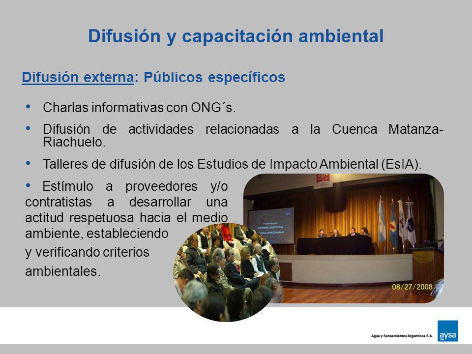 Difusión externa: Públicos específicos Difusión y capacitación ambiental Charlas informativas con ONG´s. Difusión de actividades relacionadas a la Cue