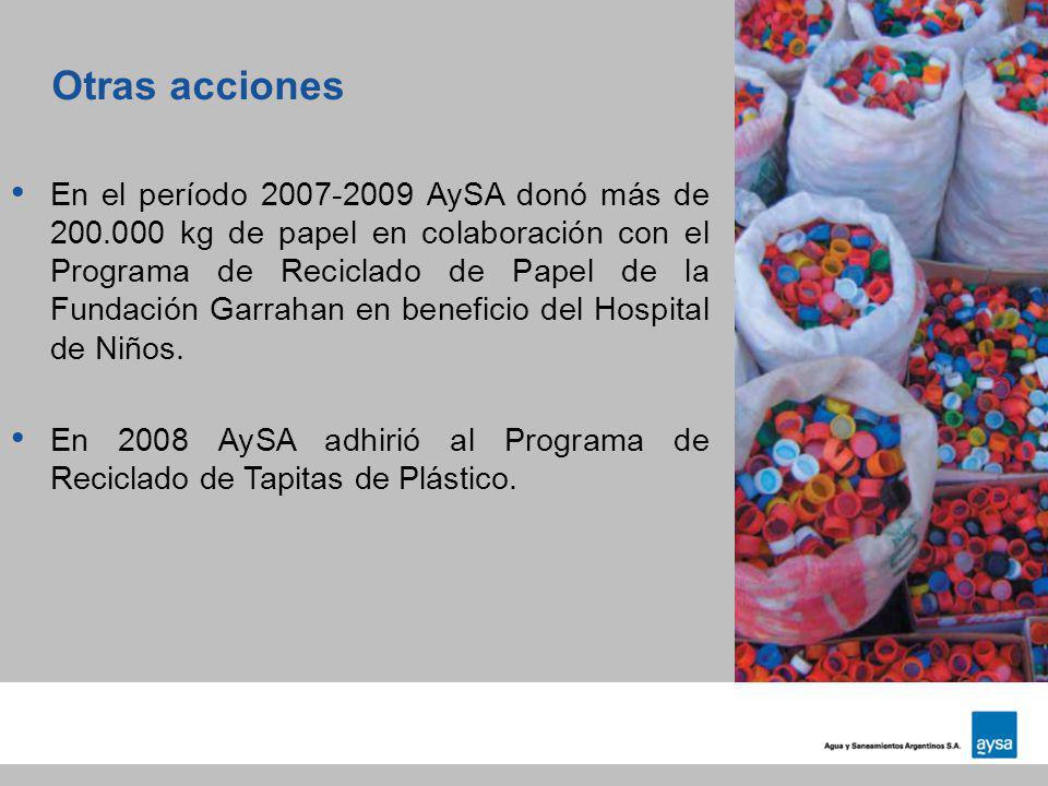 Otras acciones En el período 2007-2009 AySA donó más de 200.000 kg de papel en colaboración con el Programa de Reciclado de Papel de la Fundación Garr
