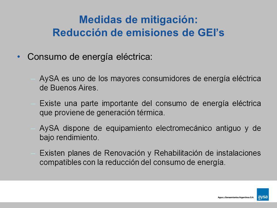 Medidas de mitigación: Reducción de emisiones de GEIs Consumo de energía eléctrica: –AySA es uno de los mayores consumidores de energía eléctrica de B