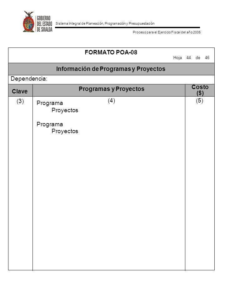 Sistema Integral de Planeación, Programación y Presupuestación Proceso para el Ejercicio Fiscal del año 2005 Información de Programas y Proyectos FORM