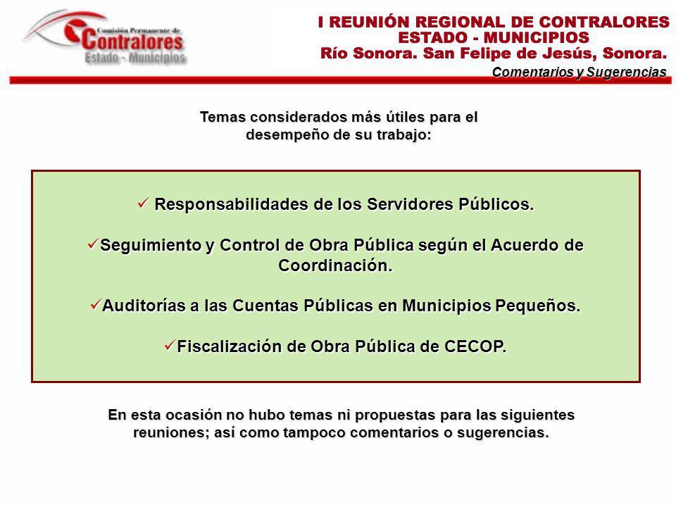 Temas considerados más útiles para el desempeño de su trabajo: Comentarios y Sugerencias Responsabilidades de los Servidores Públicos.