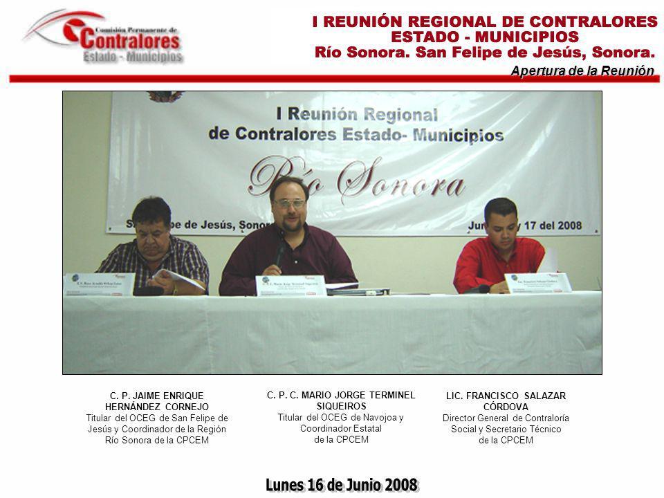 Apertura de la Reunión LIC.