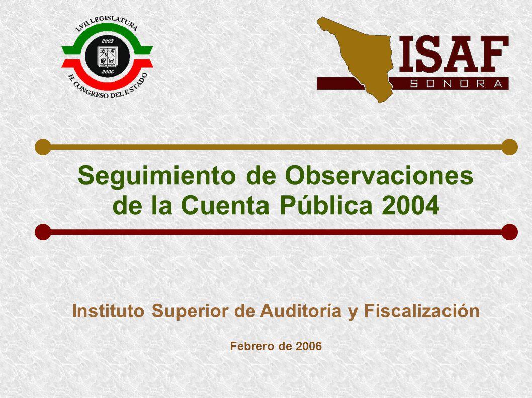 SEGUIMIENTO DE OBSERVACIONES DE LA CUENTA PÚBLICA DEL EJERCICIO 2004 SITUACIÓN DE OBSERVACIONES DE CUENTA PÚBLICA DE 2003