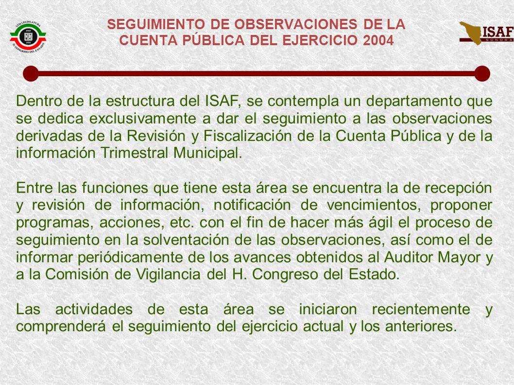 SEGUIMIENTO DE OBSERVACIONES DE LA CUENTA PÚBLICA DEL EJERCICIO 2004 RESPUESTAS OBTENIDAS PARA LA SOLVENTACIÓN DE OBSERVACIONES DE CUENTA PÚBLICA DEL 2004