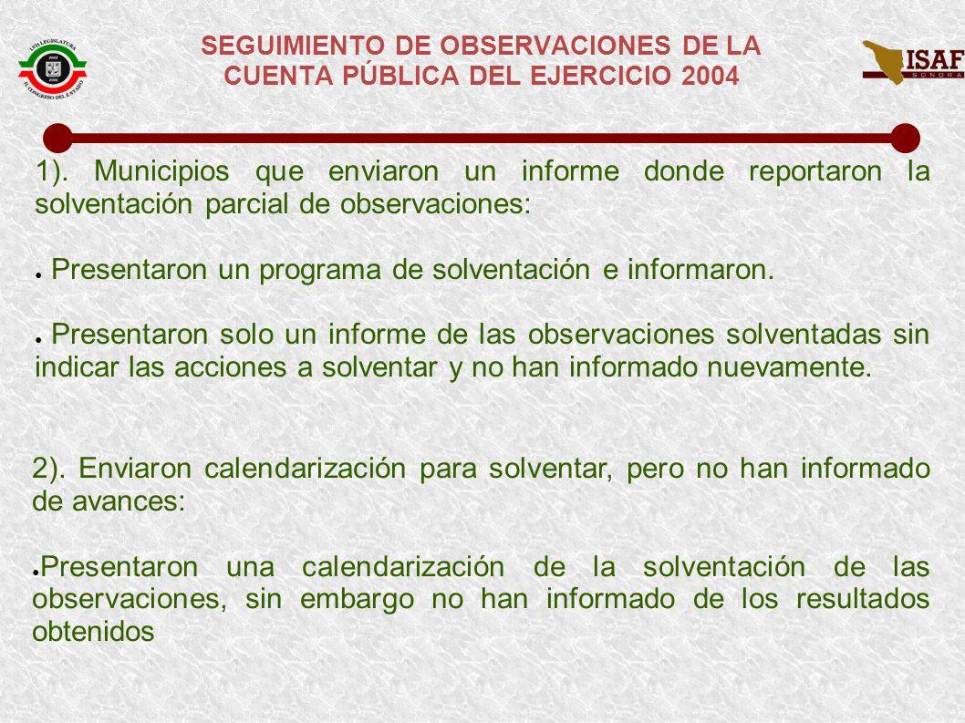SEGUIMIENTO DE OBSERVACIONES DE LA CUENTA PÚBLICA DEL EJERCICIO 2004 3.
