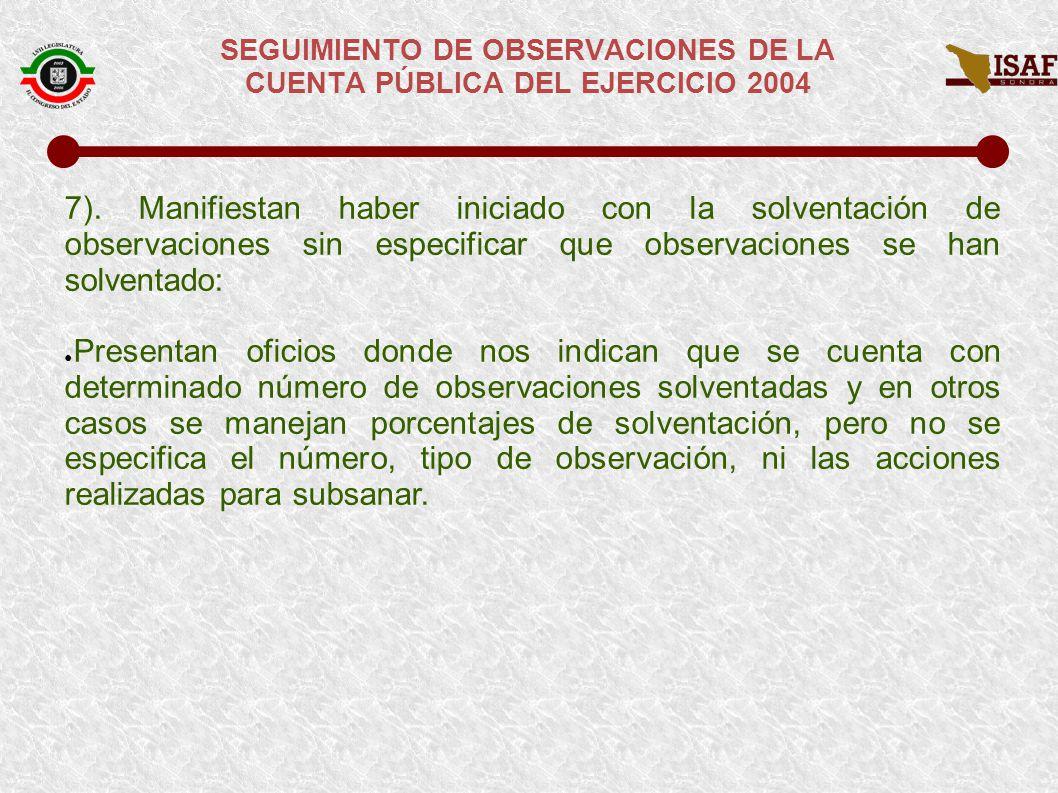 SEGUIMIENTO DE OBSERVACIONES DE LA CUENTA PÚBLICA DEL EJERCICIO 2004 SITUACIÓN ACTUAL DE LAS RESPUESTAS A LAS OBSERVACIONES DE CUENTA PÚBLICA DE 2004