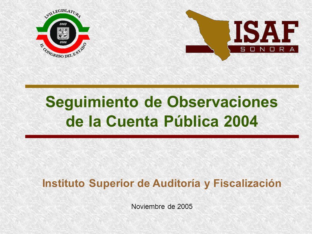 Seguimiento de Observaciones de la Cuenta Pública 2004 Instituto Superior de Auditoría y Fiscalización Noviembre de 2005