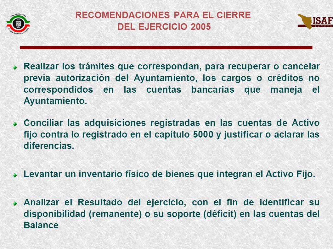 RECOMENDACIONES PARA EL CIERRE DEL EJERCICIO 2005 Verificar que todas las desincorporaciones y enajenaciones de bienes muebles e inmuebles cuenten con autorización del Ayuntamiento.