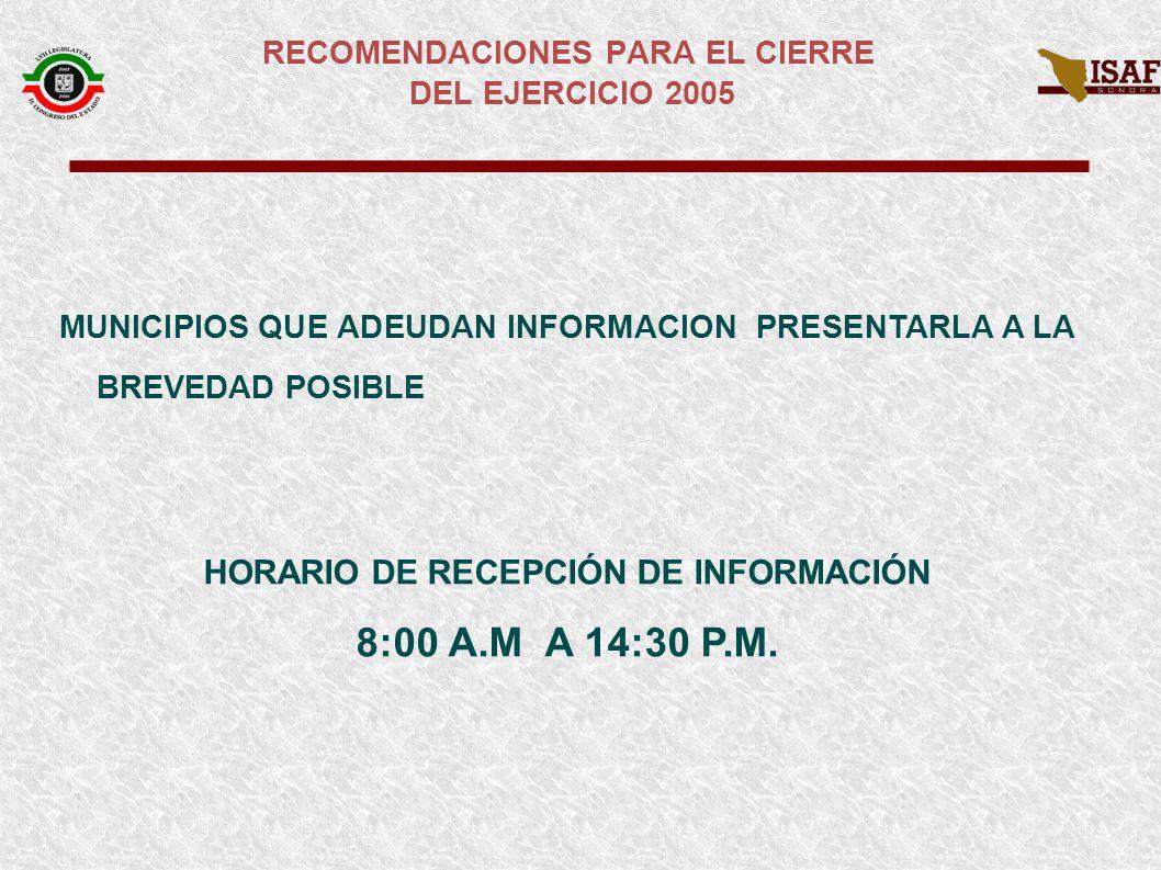 MUNICIPIOS QUE ADEUDAN INFORMACION PRESENTARLA A LA BREVEDAD POSIBLE HORARIO DE RECEPCIÓN DE INFORMACIÓN 8:00 A.M A 14:30 P.M.