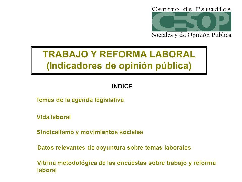 INDICE TRABAJO Y REFORMA LABORAL (Indicadores de opinión pública) Temas de la agenda legislativa Vida laboral Sindicalismo y movimientos sociales Dato