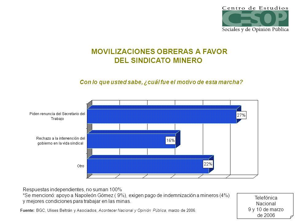 Respuestas independientes, no suman 100% *Se mencionó: apoyo a Napoleón Gómez ( 9%), exigen pago de indemnización a mineros (4%) y mejores condiciones