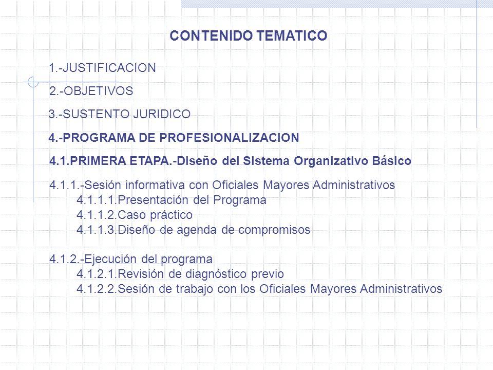 CONTENIDO TEMATICO 1.-JUSTIFICACION 2.-OBJETIVOS 3.-SUSTENTO JURIDICO 4.-PROGRAMA DE PROFESIONALIZACION 4.1.PRIMERA ETAPA.-Diseño del Sistema Organiza