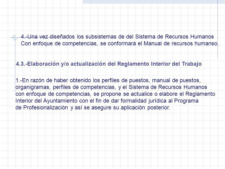 4.-Una vez diseñados los subsistemas de del Sistema de Recursos Humanos Con enfoque de competencias, se conformará el Manual de recursos humanso. 4.3.