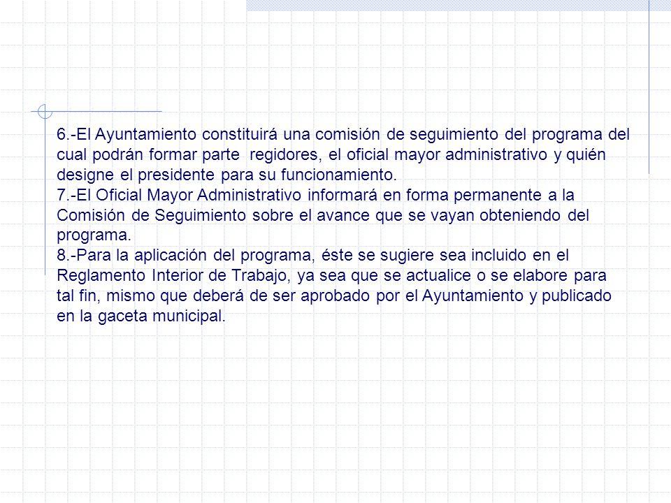 6.-El Ayuntamiento constituirá una comisión de seguimiento del programa del cual podrán formar parte regidores, el oficial mayor administrativo y quié