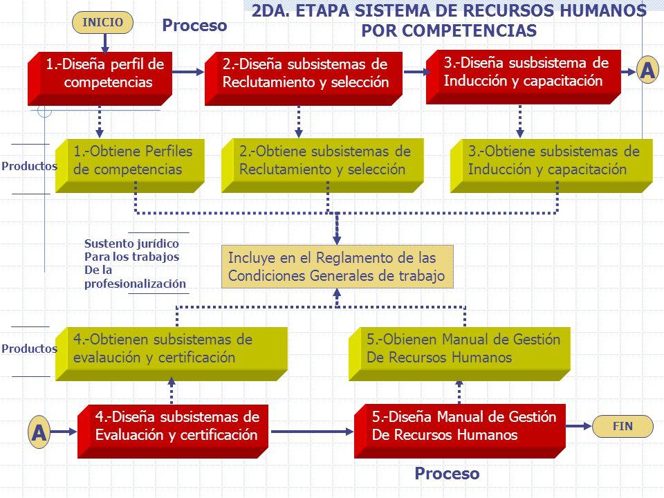 1.-Diseña perfil de competencias 2.-Diseña subsistemas de Reclutamiento y selección 3.-Diseña susbsistema de Inducción y capacitación 4.-Diseña subsis