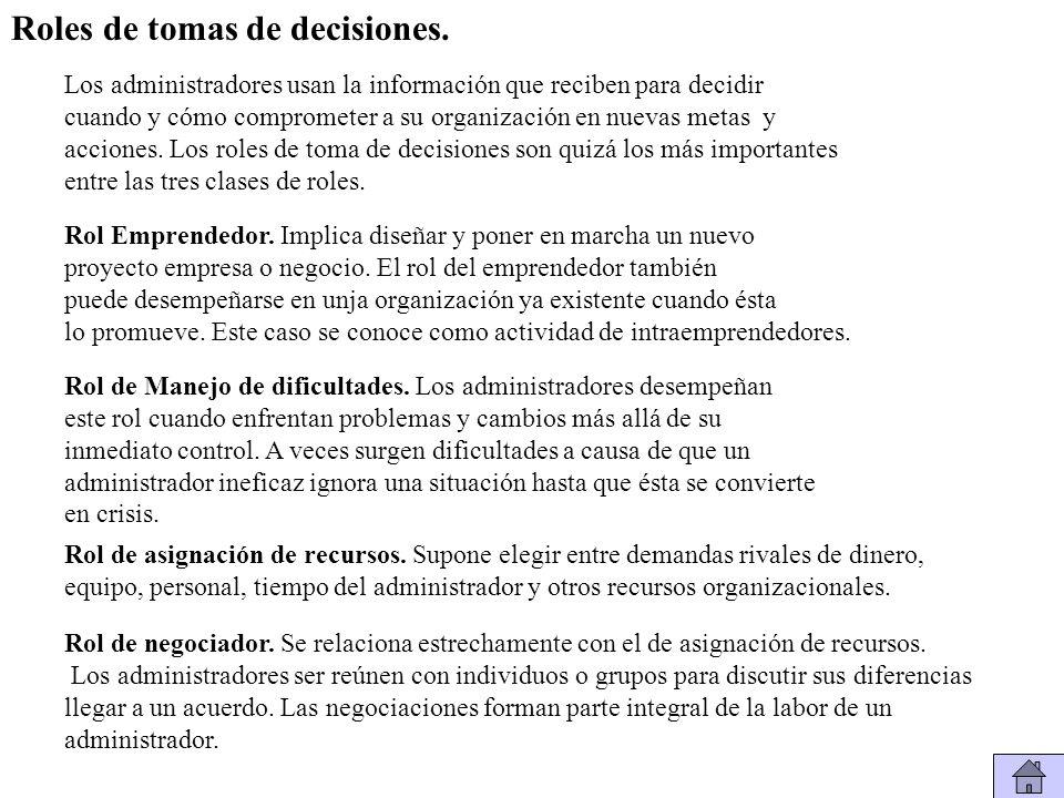 Roles de tomas de decisiones.
