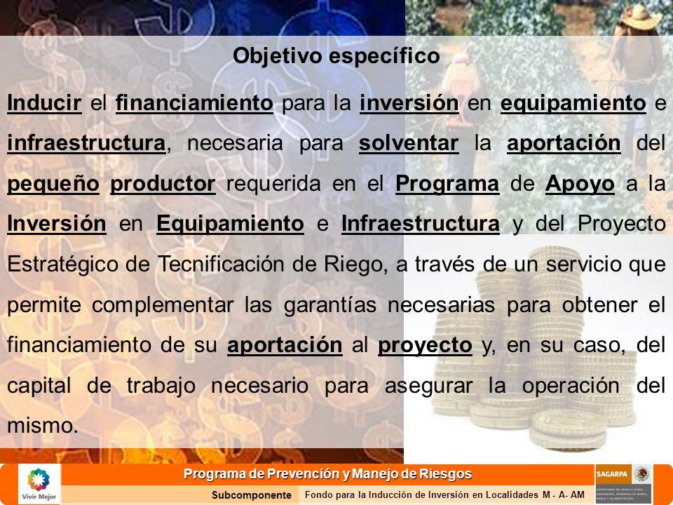 Programa de Prevención y Manejo de Riesgos Subcomponente Fondo para la Inducción de Inversión en Localidades M - A- AM Objetivo específico Inducir el financiamiento para la inversión en equipamiento e infraestructura, necesaria para solventar la aportación del pequeño productor requerida en el Programa de Apoyo a la Inversión en Equipamiento e Infraestructura y del Proyecto Estratégico de Tecnificación de Riego, a través de un servicio que permite complementar las garantías necesarias para obtener el financiamiento de su aportación al proyecto y, en su caso, del capital de trabajo necesario para asegurar la operación del mismo.