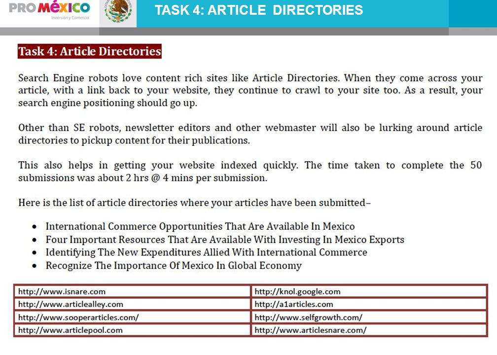 TASK 4: ARTICLE DIRECTORIES