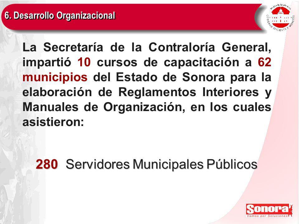 La Secretaría de la Contraloría General, impartió 10 cursos de capacitación a 62 municipios del Estado de Sonora para la elaboración de Reglamentos Interiores y Manuales de Organización, en los cuales asistieron: 280 Servidores Municipales Públicos