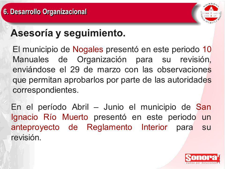 6. Desarrollo Organizacional Asesoría y seguimiento.