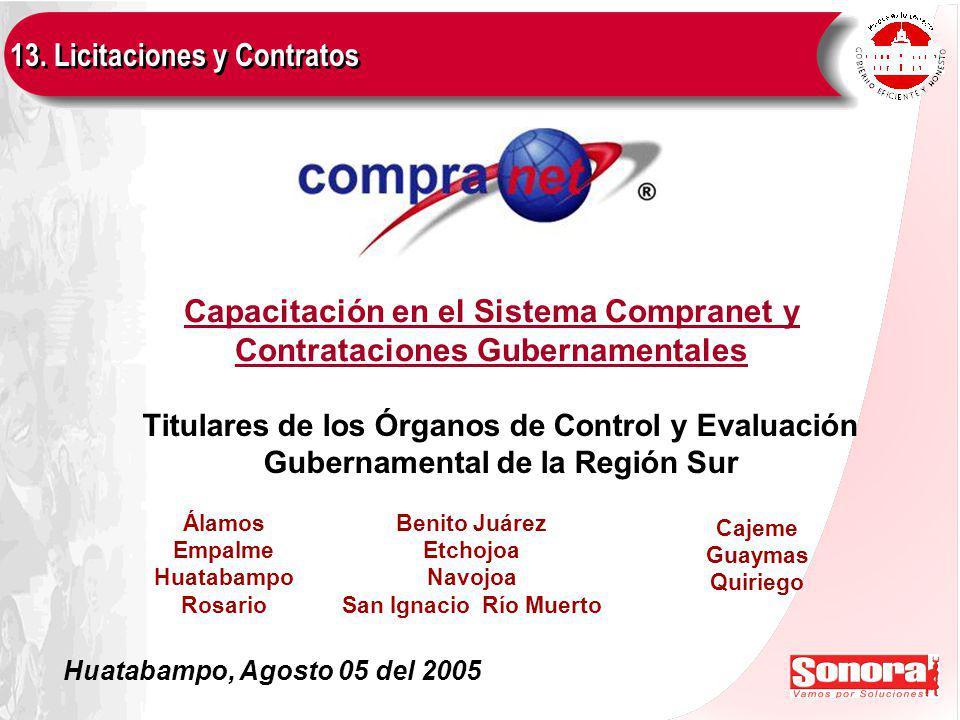 Capacitación en el Sistema Compranet y Contrataciones Gubernamentales 13.