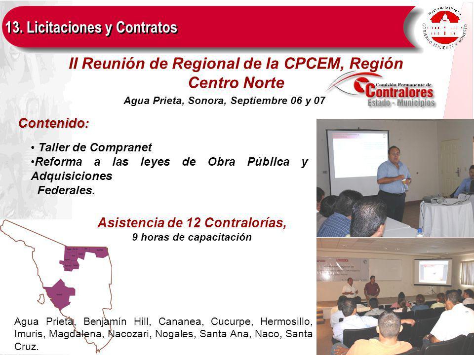 Contenido: II Reunión de Regional de la CPCEM, Región Centro Norte Taller de Compranet Reforma a las leyes de Obra Pública y Adquisiciones Federales.
