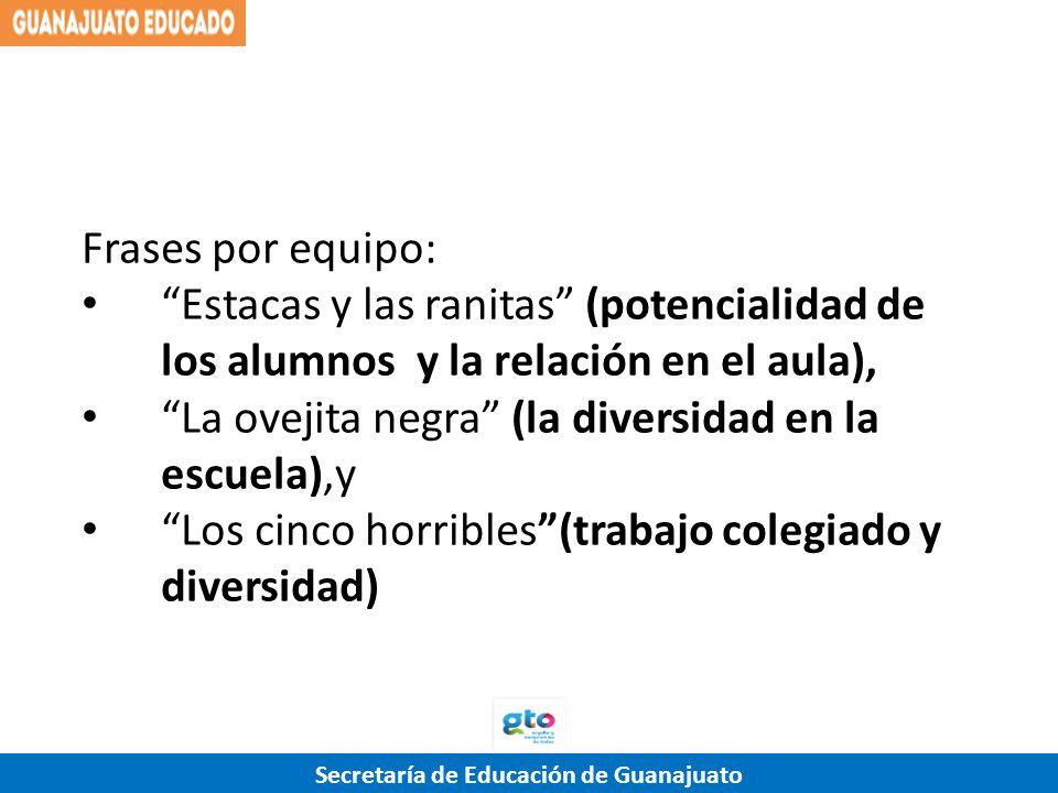 Secretaría de Educación de Guanajuato Frases por equipo: Estacas y las ranitas (potencialidad de los alumnos y la relación en el aula), La ovejita neg