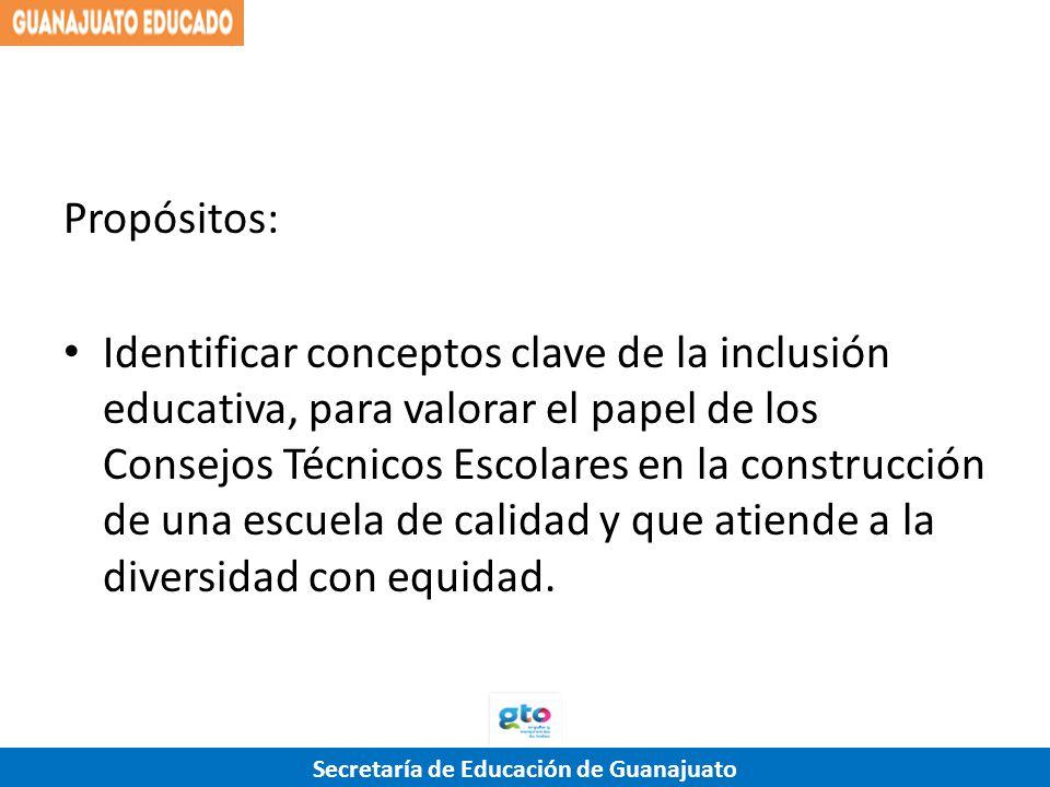 Secretaría de Educación de Guanajuato Propósitos: Identificar conceptos clave de la inclusión educativa, para valorar el papel de los Consejos Técnico