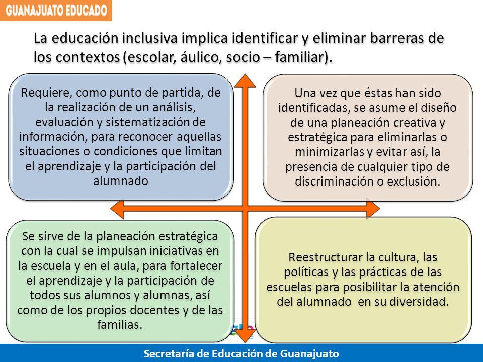 Secretaría de Educación de Guanajuato La educación inclusiva implica identificar y eliminar barreras de los contextos (escolar, áulico, socio – famili